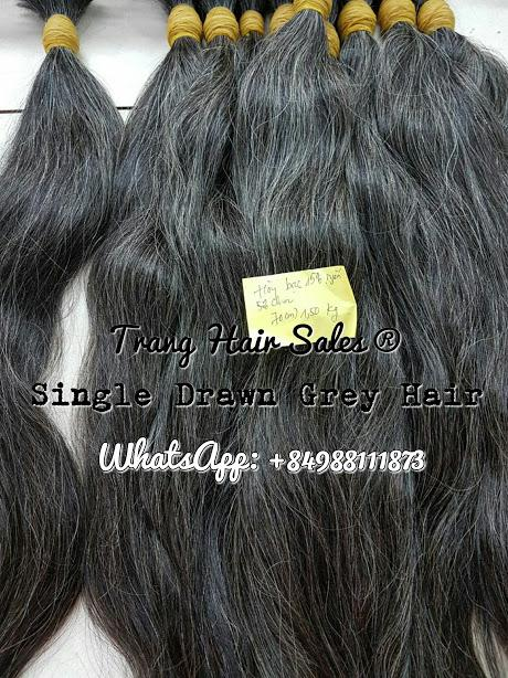 Single Drawn Grey Hair Wholesale Price Can Bleach No Tangled