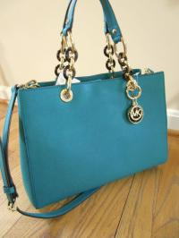 MICHEAL KORS CYNTHIA Aqua Green Blue Satchel Handbag Saffiano Leather