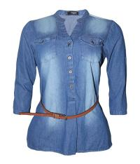 100% Export Quality Bangladesh Garments Stock-lot/Shipment Cancel/Surplus Ladies Denim Long Shirt